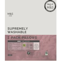 M&S 2 Pack Supremely Washable Firm Pillows - 1SIZE - White, White