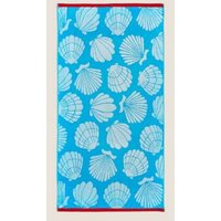 M&S Pure Cotton Shells Beach Towel - 1SIZE - Light Blue, Light Blue