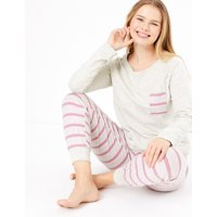 M&S Collection Striped Cuffed Hem Pyjama Set
