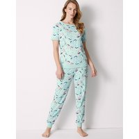 M&S Collection Cotton Rich Unicorn Short Sleeve Pyjama Set