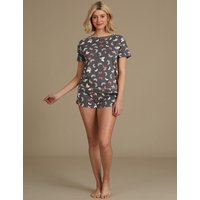 M&S Collection Cotton Rich Butterfly Print Short Pyjama Set