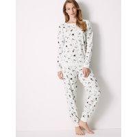 M&S Collection Cotton Rich Llama Print Pyjama Set