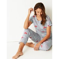 M&S Collection Cotton Rich Cloud Print Pyjama Set