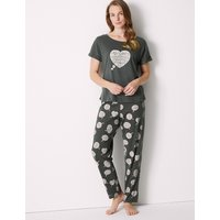 M&S Collection Cotton Rich Snooze Print Pyjama Set