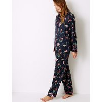 M&S Collection Satin Safari Print Long Sleeve Pyjama Set