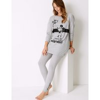M&S Collection Pure Cotton Mickey Mouse Lounge Pyjama Set