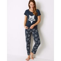 M&S Collection Pure Cotton Star Print Pyjama Set