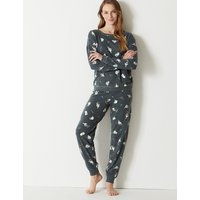 M&S Collection Cotton Rich Cat Print Pyjama Set