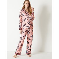 M&S Collection Satin Floral Print Pyjama set