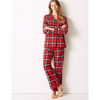 M&S Collection Pure Cotton Checked Long Sleeve Pyjama Set