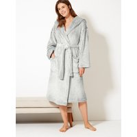 M&s Collection Long Pile Hooded Dressing Gown