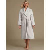 M&S Collection Fleece Textured Long Sleeve Dressing Gown