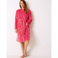 M&S Collection Supersoft Spotted Long Sleeve Dressing Gown