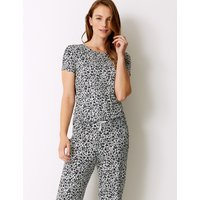 M&S Collection Animal Print Short Sleeve Pyjama Top