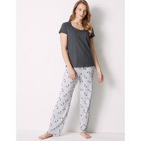 M&S Collection Pure Cotton Panda Print Pyjama Set