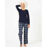 M&S Collection Pure Cotton Check Print Pyjama Set