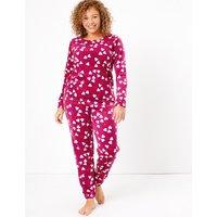 M&S Collection Fleece Heart Print Pyjama Set