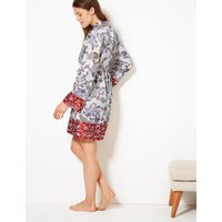 M&s Collection Satin Paisley Print Wrap Dressing Gown