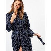 M&s Collection Satin Polka Dot Wrap Dressing Gown