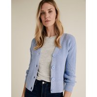 MandS Collection Cotton Ribbed Cardigan with Wool