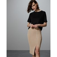Autograph Linen Blend Textured Knitted Midi Skirt
