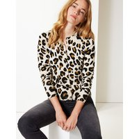 M&S Collection Animal Print Round Neck Cardigan