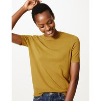 M&S Collection Round Neck Short Sleeve Knitted Top