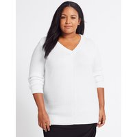 M&S Collection CURVE Pure Cotton Textured V-Neck Jumper