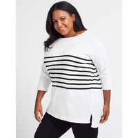 M&S Collection CURVE Pure Cotton Striped Longline Jumper