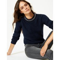 M&S Collection Embellished Round Neck Long Sleeve Jumper