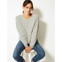 M&S Collection Pearl Embellished Round Neck Jumper
