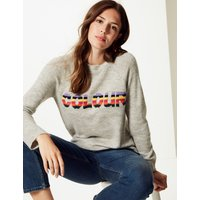 M&S Collection Jacquard Round Neck Jumper