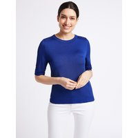 Per Una Textured Round Neck Half Sleeve Jumper