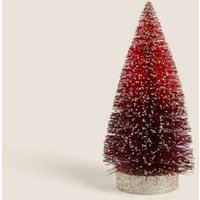 M&S Small Red Glitter Tree Room Decoration - 1SIZE, Red