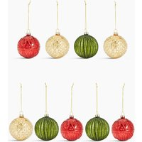 9 Pack Traditional Glass Baubles
