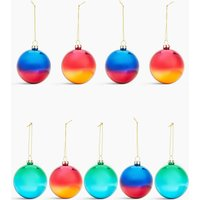 9 Pack Glass Ombre Baubles