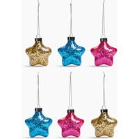 6 Pack Sequin Star Decorations