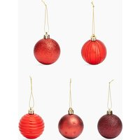 40 Pack Red Mix Shatterproof Baubles