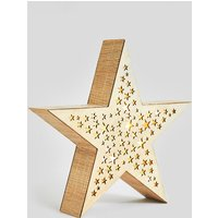 Light up Wooden Star, Natural