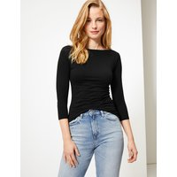 MandS Collection Cotton Rich Slash Neck Fitted T-Shirt