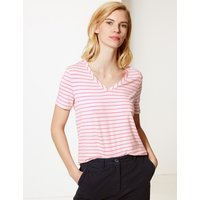 MandS Collection Striped Straight Fit T-Shirt