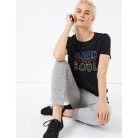 GOODMOVE Pure Cotton Mind Body Soul Slogan T-Shirt