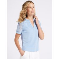 Classic Lace Notch Neck Short Sleeve Top