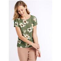 Classic Modal Rich Floral Print Short Sleeve Top