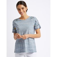 Per Una Cotton Rich Embroidered T-Shirt