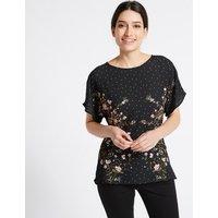 Per Una Woven Front Floral Foil Print T-Shirt