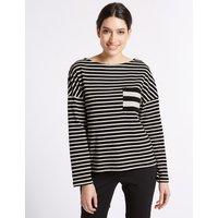 Per Una Pure Cotton Striped Long Sleeve T-Shirt
