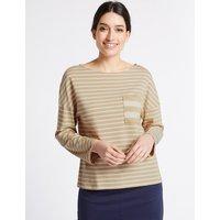 Per Una Pure Cotton Striped Pocket T-Shirt