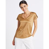 Per Una V-Neck Pleated Shoulder Short Sleeve Top