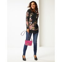 Per Una Floral Print Round Neck Long Sleeve Tunic